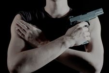 Free A Man Holds A Pistol Royalty Free Stock Photography - 8491797