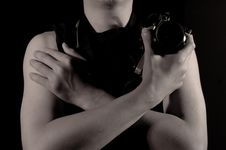 Free A Man Holds A Camera Stock Photo - 8491810