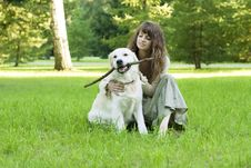 Free Girl With The Golden Retriever In The Park Royalty Free Stock Images - 8491979