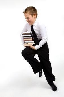 Funny Boy With Books Stock Photos