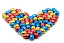 Free Chocolate Easter Eggs In A Heart Shape Stock Image - 8492531