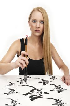 Free Woman Writing Chinese Calligraphy: LOVE Stock Photography - 8492612