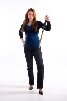 Free Young Girl And Japan Sword Stock Photography - 8493132