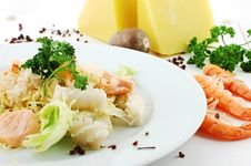 Salad, Shrimps And Chees Stock Photos