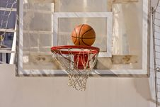 Free Ball Into Hoop Stock Image - 8494311
