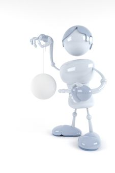 Free Blue Robot Hold Abstract Ball Stock Photo - 8494870