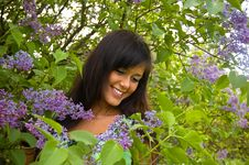 Free The  Girl And Blossoming Lilac Stock Image - 8495651