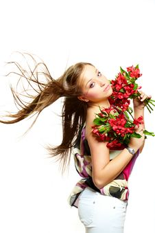 Free Beautiful Woman With Flowers Royalty Free Stock Photography - 8496117