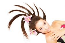 Free Beautiful Woman With Flowers In Hair Stock Photography - 8496212