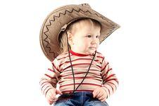 Little Boy In Cowboy Hat Stock Image