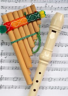 The Mexican Pipe And Beige Flute Royalty Free Stock Photos