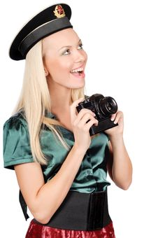 Free Blond Marine Girl With Camera Stock Photo - 8497420