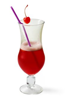 Free Cherry Cocktail Decorated With Cherry And Tubule Royalty Free Stock Image - 8498096