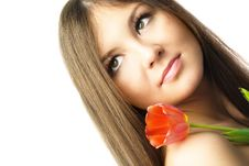 Free Beautiful Woman With A Tulip Stock Images - 8498174