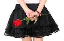 Girl S Back And Rose Royalty Free Stock Photos