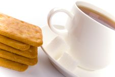 Free Cup Of Tea, Sugar And Cookies Royalty Free Stock Photography - 8499367