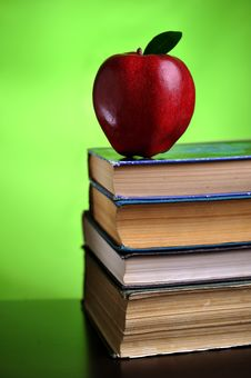 Red Apple On Books Stock Images