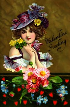 Free Vintage Valentine Beautiful Woman Valentine Greeting Royalty Free Stock Photography - 84902727
