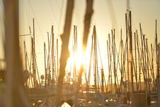 Free Sailboats In Harbor At Sunset Stock Photography - 84903812