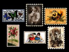 Free Vintage-Stamp-Collection Royalty Free Stock Images - 84903939