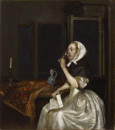 Free Gerard Ter Borch &x28;1617−1681&x29;: Lady Seated Holding A Wineglass / Viiniä Juova Nainen Kirje Kädessään / Vindrickande Royalty Free Stock Photos - 84905468