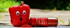 Free Red Pepper Beside Red Paprika Plastic Bottle Stock Photos - 84908893