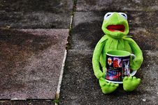 Free Toy Frog Holding Tea Mug Royalty Free Stock Photography - 84909177