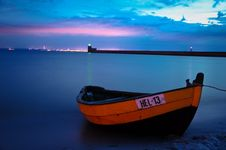 Free Fishing Boat In Hel By Night, Poland Stock Images - 84909394