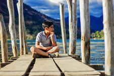 Free Boy On Wooden Pier Royalty Free Stock Image - 84911206