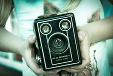 Free Black Brownie  D Vintage Camera In Hand Stock Images - 84911494