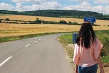 Free Back View Of Woman On Road Against Sky Stock Images - 84911964
