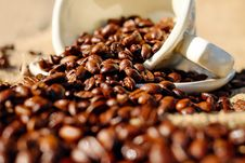 Free Shallow Focus Of Coffee Beans On White Ceramic Cup Royalty Free Stock Photo - 84913485