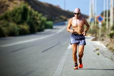 Free Man Topless Wearing Shades Jogging On Concrete Road During Daytime Stock Photo - 84913500