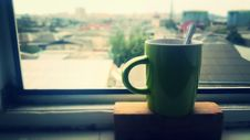Free Cup Of Coffee On House Window Sill Stock Image - 84917851