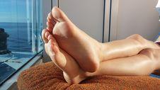 Free T-shirt Sunbath Feet 1 Stock Photo - 84925300