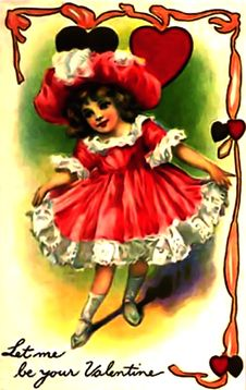 Free Vintage Valentine Let Me Be Your Valentine Little Girl Royalty Free Stock Photos - 84926098