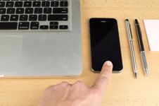 Free Finger Touching Smartphone Royalty Free Stock Photo - 84930035