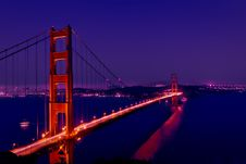 Free Golden Gate Bridge By Night Stock Photography - 84930382
