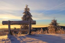Free Snow Covered Bench On Mountain Top During Sunset Royalty Free Stock Photo - 84930715