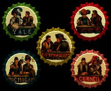 Free Vintage-Bottlecap-Collage-Couples Royalty Free Stock Photography - 84931157