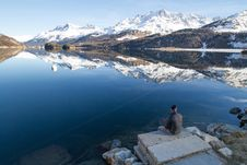 Free Snowy Mountains And Lake Reflection Royalty Free Stock Image - 84931696