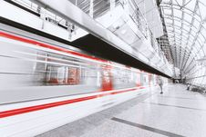 Free Blurred Motion Of Illuminated Railroad Station In City Stock Photo - 84931730