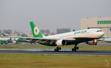 Free Eva Air Jet Landing On The Runway Royalty Free Stock Images - 84931899