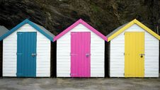 Free Bathing Huts At Bottom Of Cliff Stock Images - 84932224