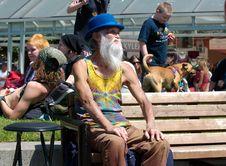 Free Elderly Man In Blue Hat On Bench Stock Photos - 84932233