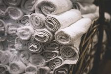 Free Stack Of Rolled White Bathroom Towels Royalty Free Stock Photo - 84932235