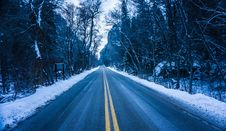 Free Two Way Road With Trees And Snow Royalty Free Stock Image - 84932376