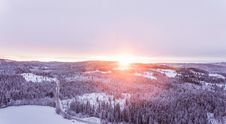 Free Sunset Over Forests In Hillside In Winter Royalty Free Stock Photo - 84932595