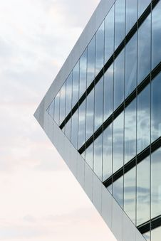 Free Worms Eye View Of Glass Pyramid Building Stock Images - 84934804