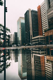 Free Skyscrapers Reflected In Lake Royalty Free Stock Images - 84936079